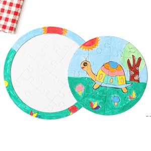Sublimation Blank Picture Puzzle DIY Colouring Jigsaws Child Square Five Pointed Star Painting Toys White Gift Paper DHA4229