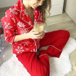 Handeck Flocon de neige motif vêtements de Noël Femmes manches longues Pochette de poche rouge Pantalons rouges Deux pièces Ensembles féminines vêtements de nuit Home Wear costume L0304