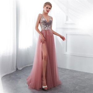 ZITY Women Wedding Bridesmaid Ball Prom Gown Sequin Long V Neck Sequins Dress Party Dress