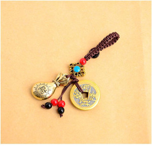 Handmade Rope Lucky Feng Shui Hanging Vintage Brass Money Bag Keychain Pendant Jewelry Ancient Five Emperors Coins Car K qylRMM