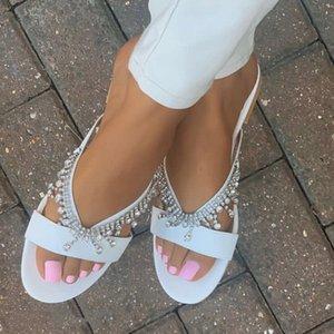 summer shoes flat pearl comfortable string bead slippers Women casual Flip Flops Beach sandals 210226