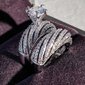 ماركة كوبيه خواتم أنيقة خمر مجوهرات 925 فضة جولة قطع الأبيض توباز النساء الزفاف الاشتباك خاتم الزفاف مجموعة هدية