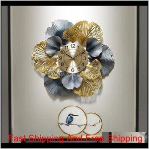 Nuovo cinese in ferro battuto Ginkgo foglia orologi decorativi a parete hankings artigianato domestico soggiorno orologio da parete murale decorazione arte noley y2uqe
