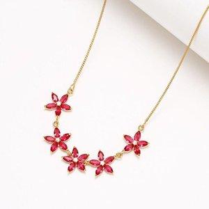 MXGXFAM Red / Pink CZ fiori pendente collane per donna vestito gioielli colore oro di buona qualità