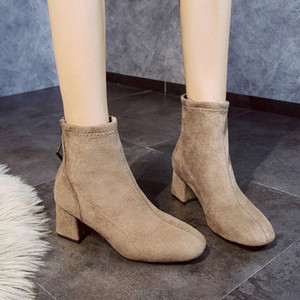 2019 New Stretch Socks Boots Women Shoes Slip Ankle Boots Winter Elegant Zip Square High Heels Shoes Women Wellies Boots For Women e4ES#