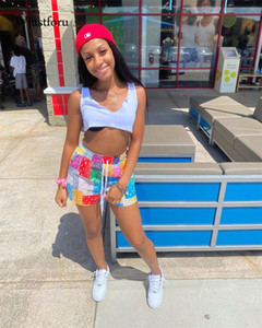 Wjustforu bandana impresión mujer pantalones cortos patchwork shorts altos pantalones cortos de verano ropa pantalones cortos de playa ropa mujer holgado fondo 2021 q0131