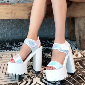Sandals 2021 Summer High Heel Thick Sexy One Line Sequin Scales Versatile Super White Roman Women Shoes 15cm