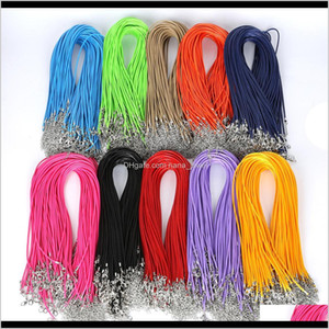 1.5Mm Wax Leather Rope Necklace Snake Cord String Rope Wire Extender Lobster Clasp Chain Fashion Diy Jewelry Findings In Bulk 45Cm+5Cm F2Jkp