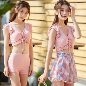 2021 New Women's Split Bikini Three Piece Set Conservative Thin Korean Student Hot Spring Swimsuit