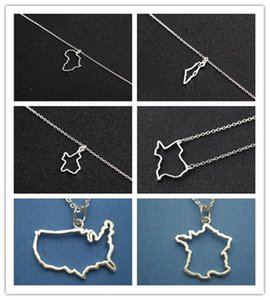 10PCS Gold African Map Charm Chain Necklace Ireland Israel France American Austrila Nigeria Syria Barbados Puerto Rico Country World Choker