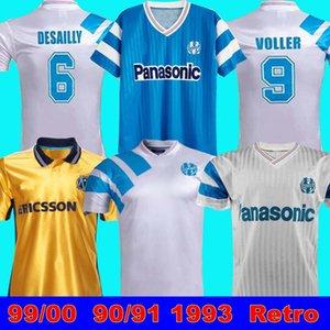 1993 Olympique Marselha Retro Comemorate Camisa de Futebol Deschamps Papin Boli Desailly Voller 99 00 98 99 Marselha Retro Soccer Jersey