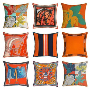 Serie arancione Cuscino Copertura Cavalli Fiori Stampa Pillow Case Cover per la sedia a domicilio Decorazione di divano Decorazione quadrato Pillowcases GWF5167