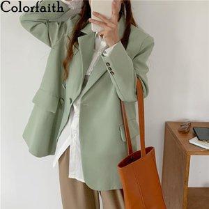 Colorfaith Yeni 2021 Sonbahar Kış kadın Blazers Cepler Ceketler Moda Vintage Büyük Boy Vahşi Ofis Bayan JK20215 Tops