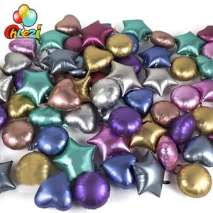 New 10pcs 18inch Chrome Metallic Heart star Round Helium Foil Balloons baby 1st Birthday Party Supplies wedding Decor Air Ballon L0220
