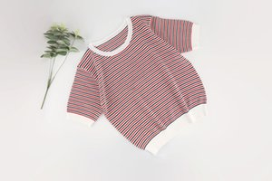 2021 Ladies Short Sleeves, Regular Shirts, Small Round Neck, Stripes Staggered Cute Style, Casual And Fashionable All-Match