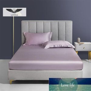Sheets & Sets Lofuka Luxury Pure Purple 100% Silk Fitted Sheet Set Double Queen King Flat With Elastic Band Mattress Cover Case