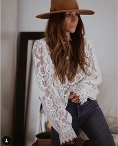 Women's Blouses & Shirts Lady White Lace Blouse Shirt Women Long Sleeve See Through Sexy Blusa Vintage Femme Transparent Top Casual Boho