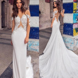 Simple Mermaid Wedding Dress 2021 Sheer Neck Long Sleeves Lace Appliqued Buttons Back Sexy Beach Bridal Gowns Vestido De Novia