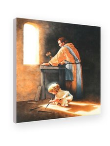 DESTINY Boy Jesus Nail Spikes in Joseph's Carpenter Shop Art Prints of Jesus Christ Home Decor Posters Wall Art Canvas Pictures