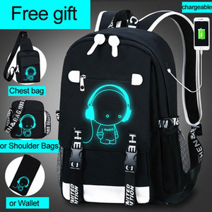 School Backpack 3D Luminous Animation USB Charge School Backpack For Teenage Boys Anti Theft Childrens Schoolbags 27vA#