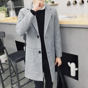 Negócio masculino longo trincheira de lã casaco mistura jovem homens casuais outono e inverno casaco