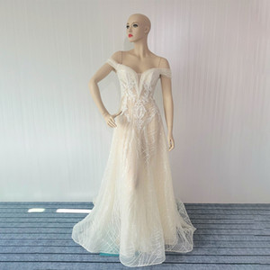 Light  pearl sequins wedding dress design sense lace light ripe wind sexy word shoulder high texture temperament small dress