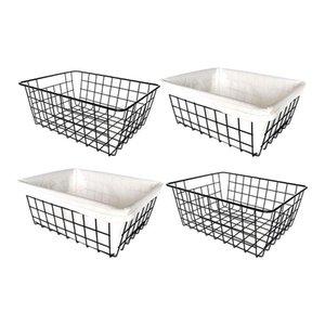 Cestas de almacenamiento Cestas de alambre, 4 pack Metal Metal Organizer, Papelera de refrigerador con asas, para despensa, congelador, cocina