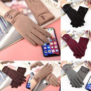 Five Fingers Gloves Fashion Autumn Winter Women Warm Cuff Soft Lining Button Decoration Mittens Rekawiczki Zimowe