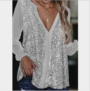 Women's Blouses & Shirts Large Size Loose Casual Women Blouse 2021 Spring Sequins V-neck Long-sleeve Pullover Solid Color Tops Chiffon Shirt
