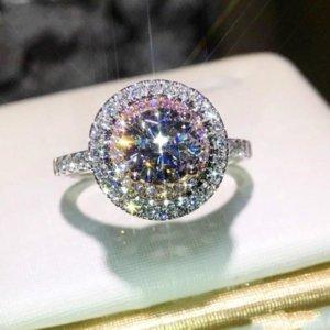 FAHMI Jewelry Victoria Ring Wieck Handmade 925 Sterling Silver Round Cut Pink&White Sapphire CZ Diamond Gemstones Color Women Band
