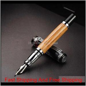 Duke 551 Classic Confucius Natural Bamboo Metal Fountain Pen Calligraphy Pen Medium   Bent Iridium 0.7Mm   1.2Mm For Office Gift 6Hxjy Zbjhq