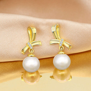 HBP fashion luxury Jewelry New S925 Pure Silver Bow Series Natural Freshwater Pearl Earrings