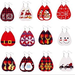 Pu Leather Earrings Faux Leather Dangle Drops Earrings for Women Christmas Tree Bell Deer Drops Earring for Christmas Gift