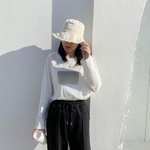 Ctrllock Soft Coton Square Square à manches longues T-shirts Femmes 2020 automne Collier rond Basic Casual Tops Toile de fond