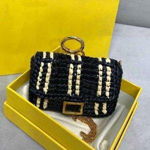 Кошельки цепные кошелек сумки на ремне мода соломенная трава тканые мини-багета рука плетена лоскутное письмо Бесплатная доставка высокое качество