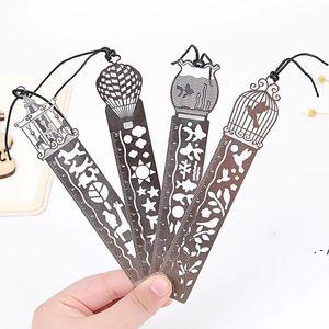 4 Стили Классическая металлическая линейка закладки Креативные студенческие подарки Античные подарки Ретро канцелярские стальные стальные модные линейки закладки OWB5543
