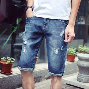 Llevar los pantalones vaqueros de Holed Hombre Slim 2021 Fashion Brand Summer Refreshing Shorts