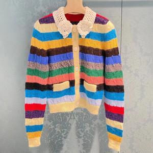 Miu family rainbow sweater baby collar color matching sweater stripe twist cardigan coat blouse winter new