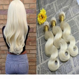 Nuovo 100% Non trasformato Vergine europeo European Human Hair Extensions Body Wave Remy Capelli Bundles # 613 Blonde Hair Weft Weave 100G Bundle