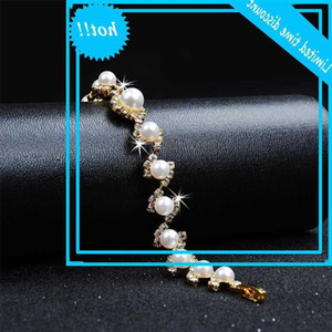 Luxury Women's White Pearl Classic Gold Silver Color Chain Bracelets For Women Trendy Round Crystals Wedding Bracelet