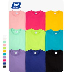 Inf men's clothing 190g weight spring summer personality street fashion simple solid candy round neck comfortable t-shirt for men