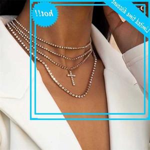 Purui 2020 Mode MultiLouche MultiLayer Hop Chaîne longue Chaîne pour Femmes Hommes Crystal Crystal Cross Pendentif Accessoires Bijoux de fête