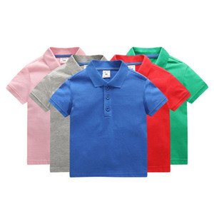 Kids Boys Polo Shirts Solid Colors Toddler Boys Lapel Short Sleeve Tops Girls Lersure Clothes Kids Cotton T-shirts