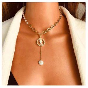 Encontre-me simples liga de liga oco retrato pingente imitação pérola colar de corrente para mulheres moda jóias