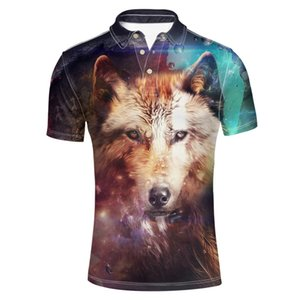 Men's Classic Jersey Golf Polo Shirt Summmer Fashion Hipster Short Sleeve Collar 3 Button Up T-Shirts Clothing (Wolf Pattern)