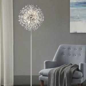 Nordic Modern LED Kristal Zemin Işıkları Oturma Odası Için Yemek Odası Yatak Odası Çalışma Ev Dekor Işıkları Fikstür Karahindiba Zemin Lambası