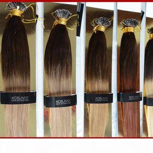 "Nano Loop Virgin Hair Ombre 2 Tone Dip Dip Mye 18 ""20"" 1G S 100G + 100 Летки 100% Малайзийские девственные волосы нано нано"