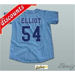 Minanser Chunichi Dragones Jack Elliot Mr. Béisbol Movie Jerseys 54 Hombres Todos los cosidos Jersey Blanco Tamaño azul S-3XL