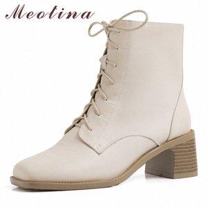 Meotina Kış Ayak Bileği Çizmeler Kadın Doğal Hakiki Deri Kalın Yüksek Topuklu Kısa Çizmeler Fermuar Kare Toe Ayakkabı Bayanlar Boyutu 34 40 Çizmeler M0MZ #
