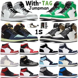 2021 High Og Jumpman 1 1s Mens Basketball Shoes Lucky Green Tokyo Hack Light Smoke Grey Unc Obsidian Twist Women Sneakers Trainers Size
